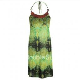 κοντό φόρεμα ζερσευ τιράντα και ξύλινη διακόσμηση