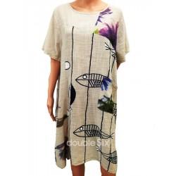 Φόρεμα κοντό βαμβάκι λινό με μανίκια