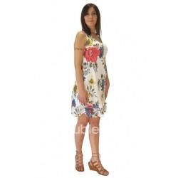 Φόρεμα κοντό βαμβακερό λινό με τιράντες